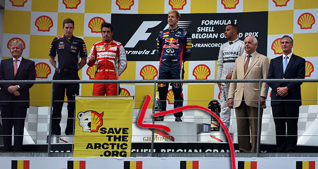 An anti-shell banner on the podium that had been placed there weeks in advance © Sutton Images