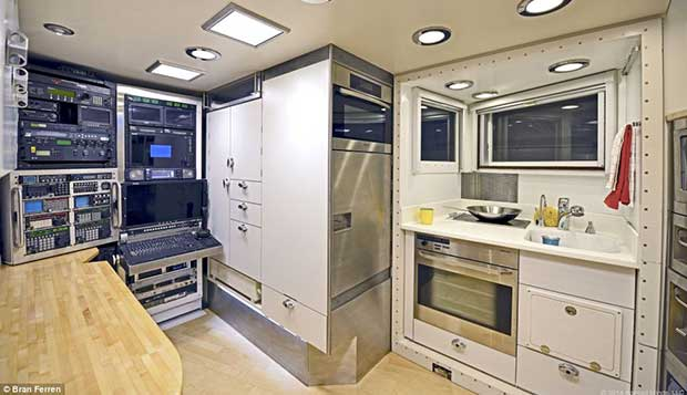 The kitchen will be able to sustain a family of three for two to three weeks, and for longer trips other equipment can be removed to make more storage space