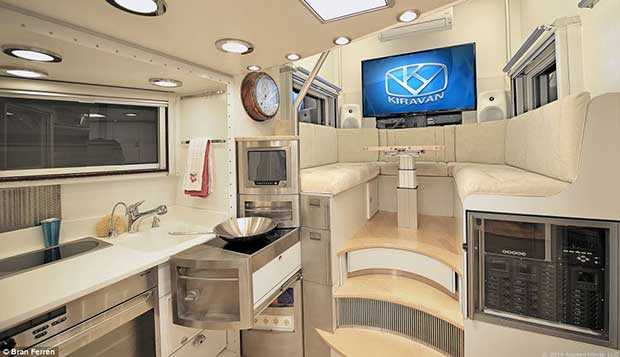 The Kiravan also has a full kitchen and dining area in the main trailer