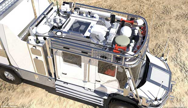 Antennas and dishes on the roof give the truck its communications capabilities, and can be hoisted up when the truck is stationary.