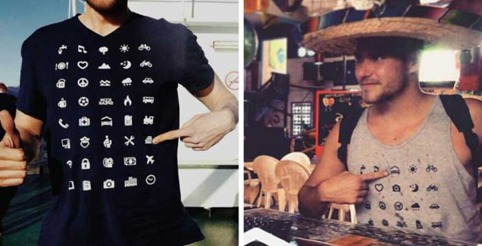 Traveling T-Shirt With 40 Icons Lets You Communicate In Any Country Even If You Dont Speak Its Language